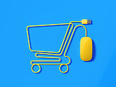 Yellow Mouse Cable Forming A Shopping Cart Symbol On Blue Background