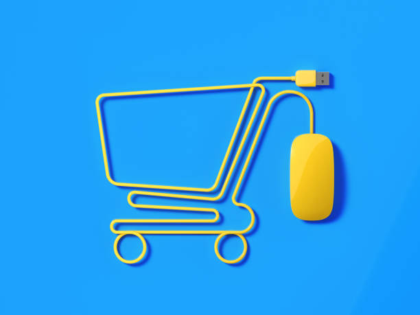 Yellow Mouse Cable Forming A Shopping Cart Symbol On Blue Background stock photo