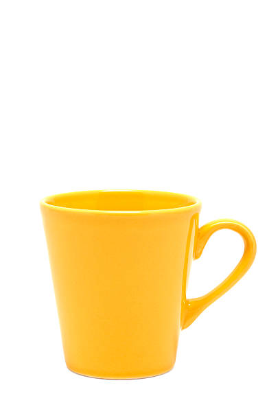 yellow mug (clipping path) stock photo
