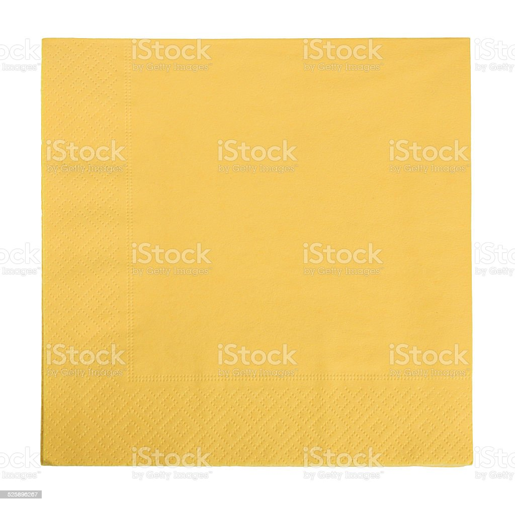 yellow napkin isolated stock photo
