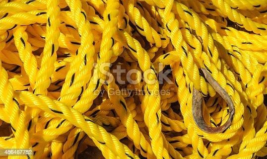 istock Yellow Nautical Rope 486467782