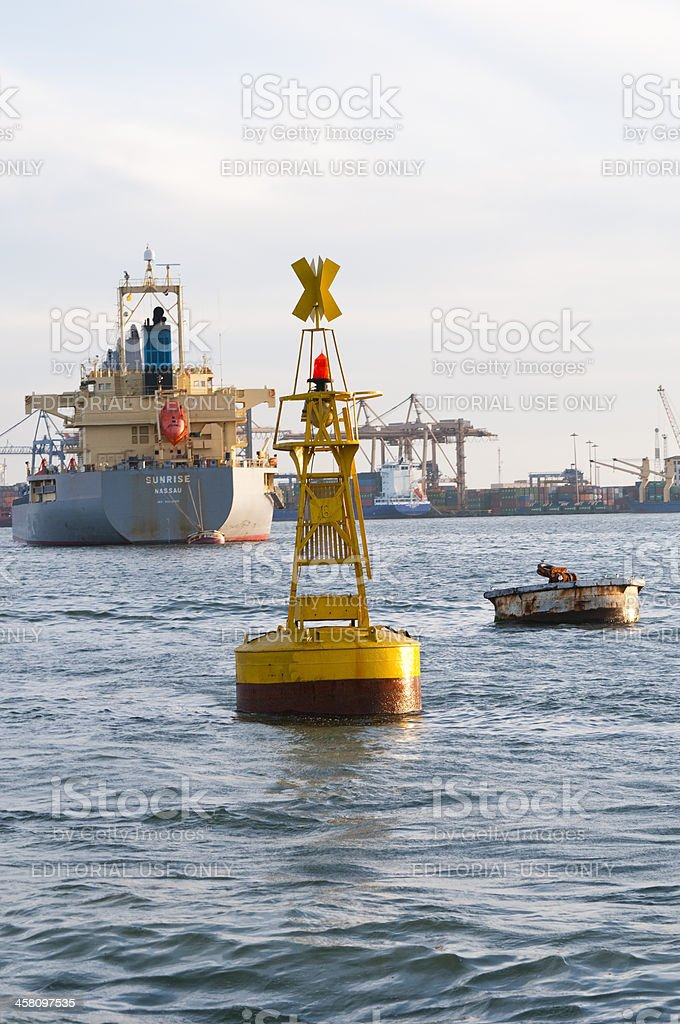 Navigational marker in Suez Canal stock photo