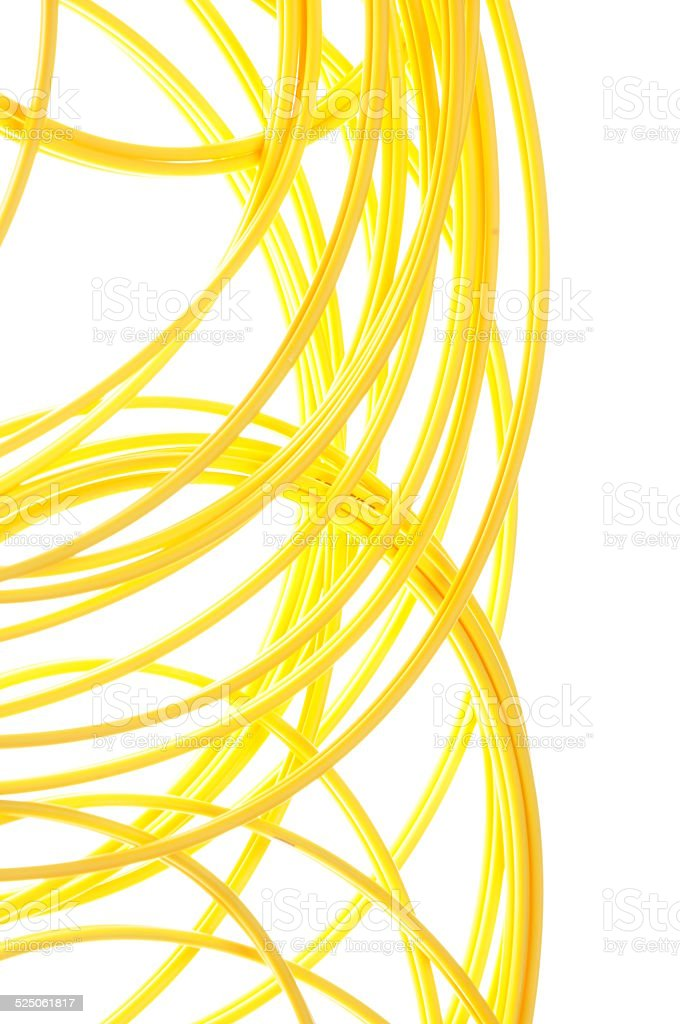 Yellow network patch cord stock photo