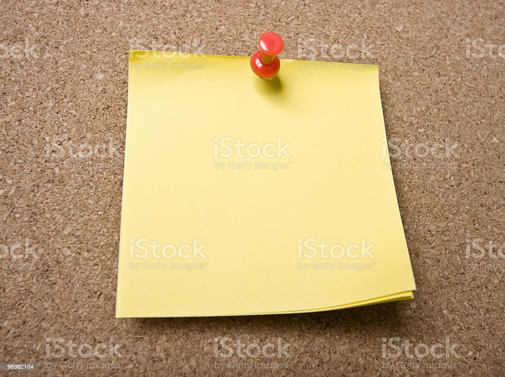 Yellow Note on Corkboard royalty-free stock photo