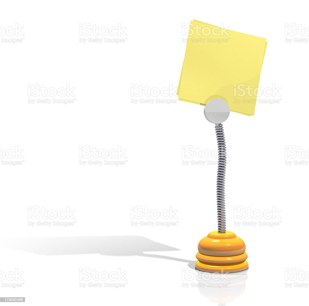 Yellow note on stand (Clipping Path) royalty-free stock photo