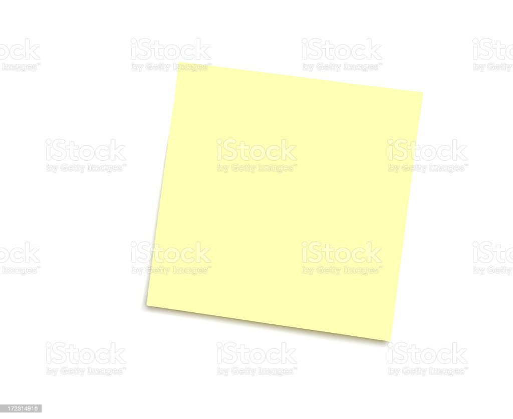 Yellow note on white royalty-free stock photo