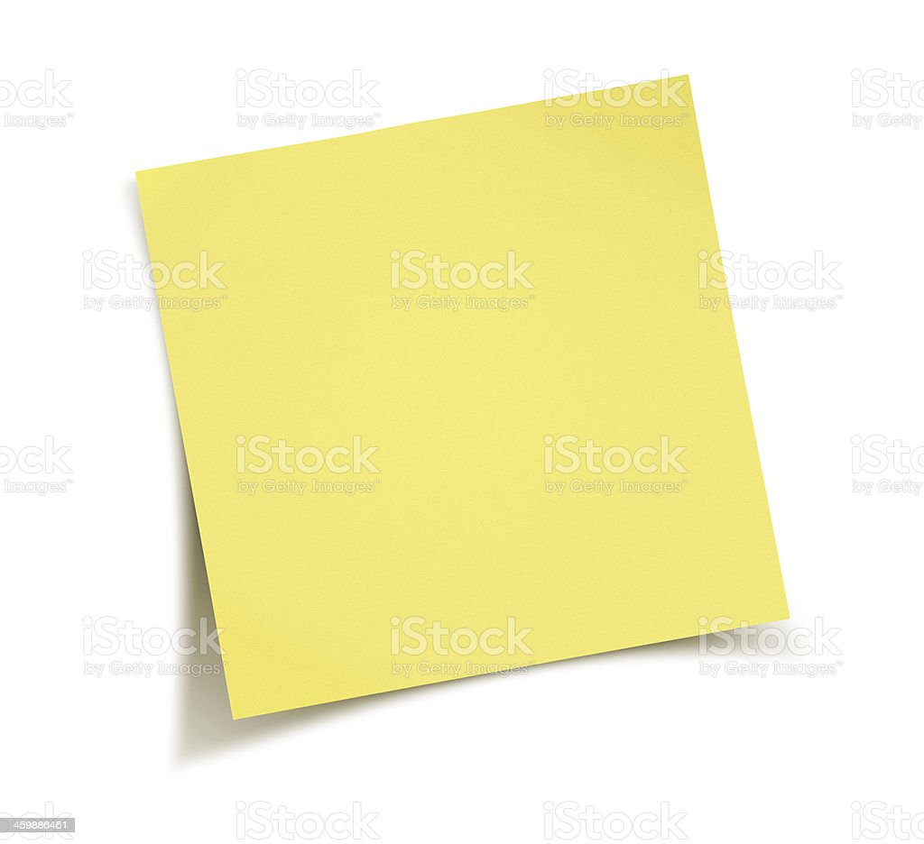 Yellow note paper stock photo
