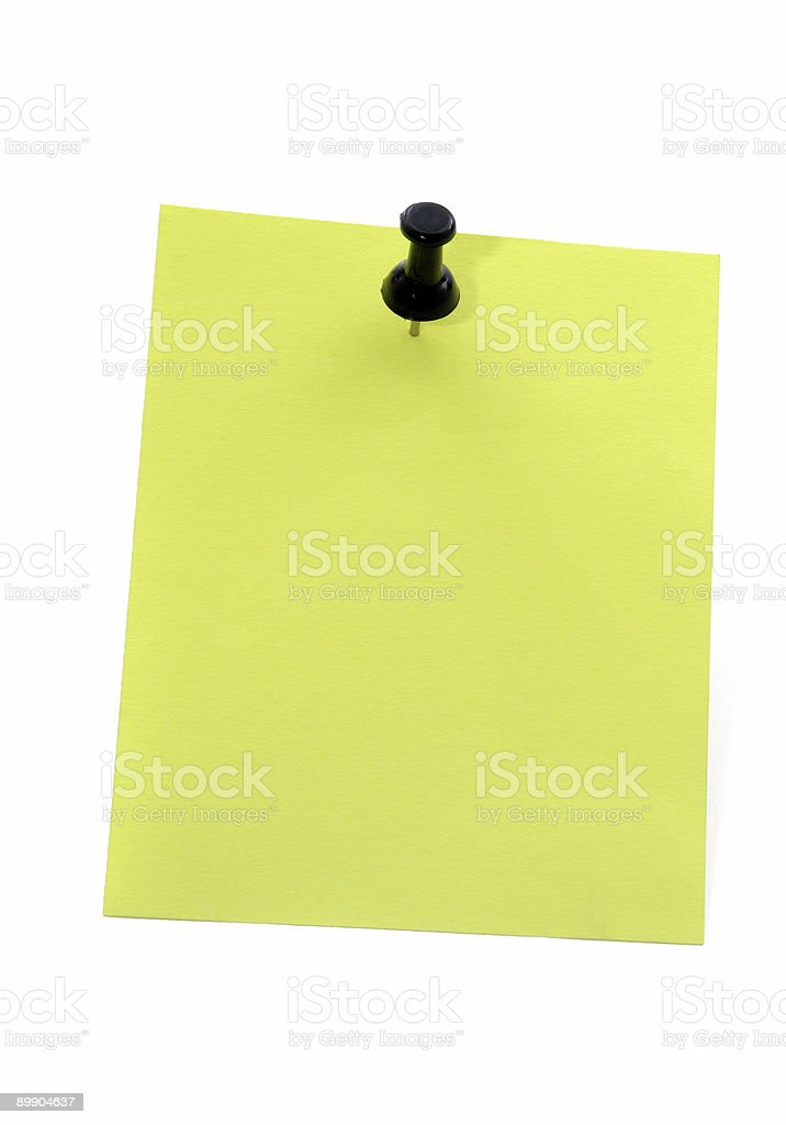 Yellow note paper with pushpin royalty-free stock photo