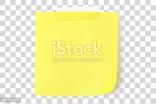 blank yellow note with adhesive tape isolated on transparent background