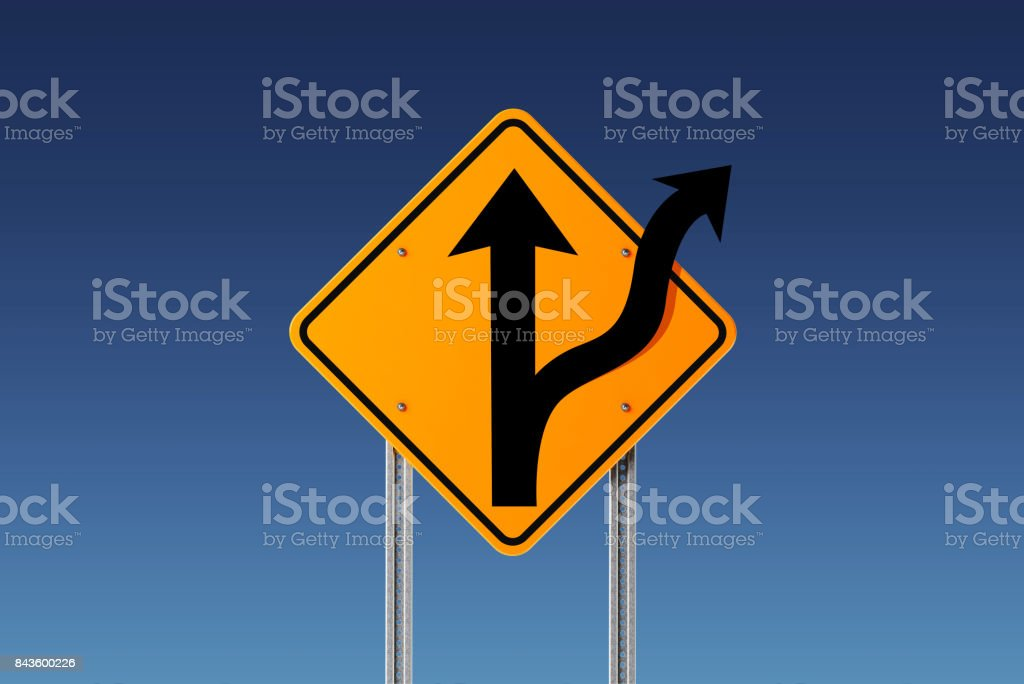 Yellow Off Road Traffic Sign on Blue Sky stock photo