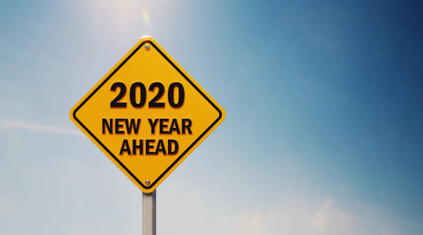 Yellow Off Road Traffic Sign With 2020 New Year Ahead Text on Blue Sky Yellow off road traffic sign with 2020 new year ahead text on blue sky. Horizontal composition with copy space. countdown stock pictures, royalty-free photos & images