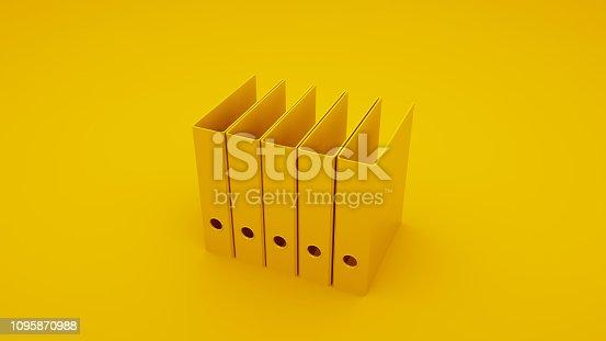 istock Yellow Office Ring Binders. 3D illustration 1095870988