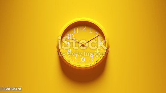 Yellow Office Wall Clock 3d illustration render