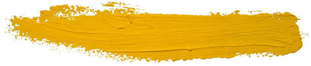 yellow oil brush stroke. abstract varnish splash trace shape. glossy oil paint smear long line on white background. - stroking stock pictures, royalty-free photos & images