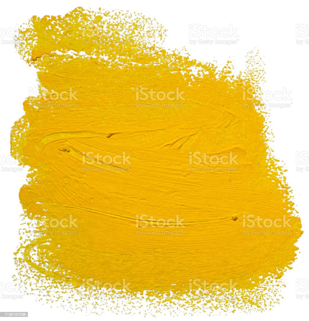 Yellow Oil Brush Stroke Abstract Varnish Splash Trace Shape