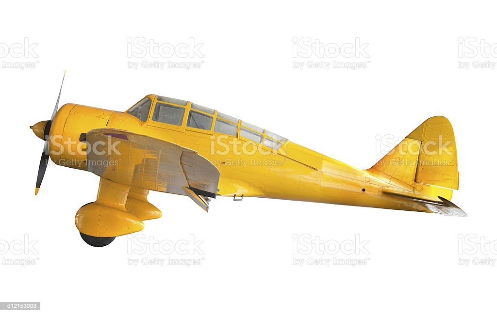 Jaune vieux avion, isolé sur fond blanc - Photo
