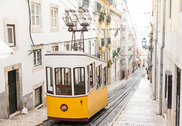 yellow old tram in lisbon - portugal stock photos and pictures