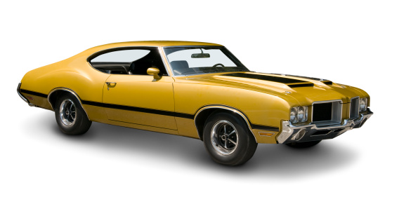 An all original Oldsmobile 442 muscle car from 1970. Clipping path on vehicle.