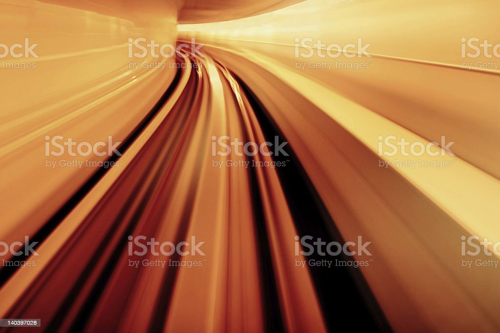 Yellow Orange Blurred Abstract Tunnel stock photo
