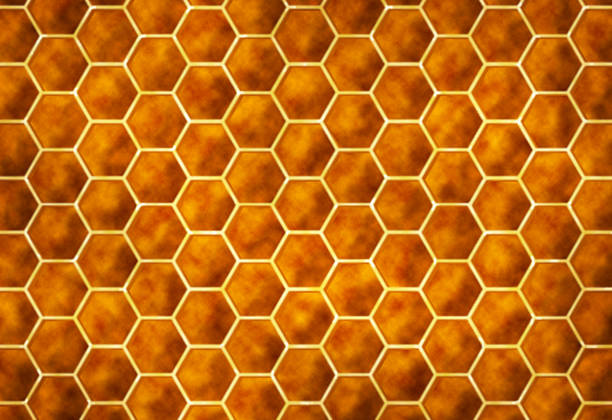 yellow orange modern abstract hexagon honeycomb pattern technology background architecture - natural pattern stock photos and pictures