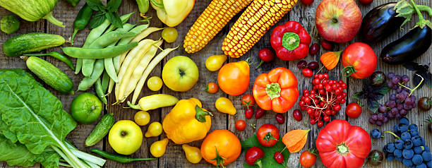 yellow, orange, red fruits and vegetables - foto de stock
