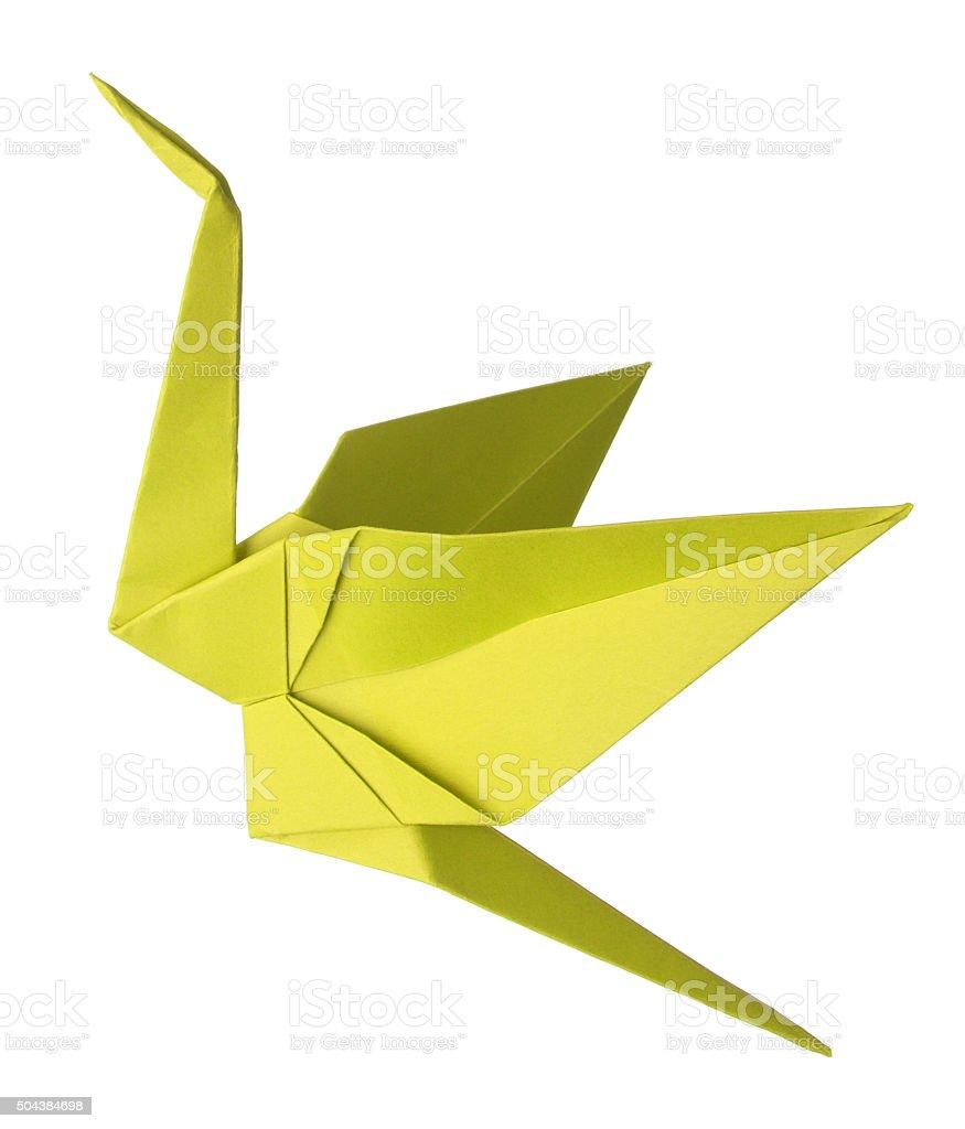 Yellow Origami Crane stock photo