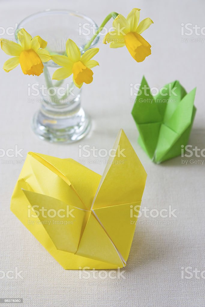 Yellow Origami Easter Bunny royalty-free stock photo