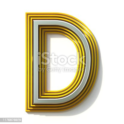 184385936istockphoto Yellow outlined font letter D 3D 1176876929