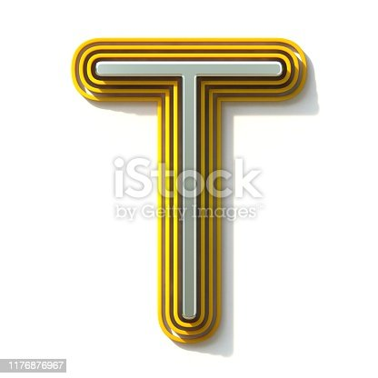 583978622 istock photo Yellow outlined font letter T 3D 1176876967