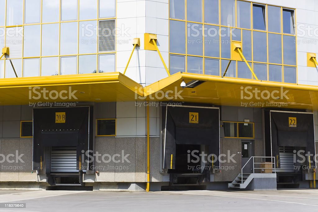 Yellow outlined modern loading docks royalty-free stock photo