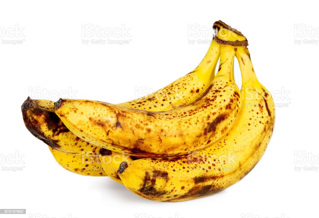 Yellow over ripe bananas stock photo