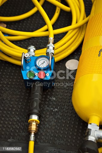 istock Yellow oxygen balloon. Equipment for firefighters. The device showing pressure in a balloon. 1183582552