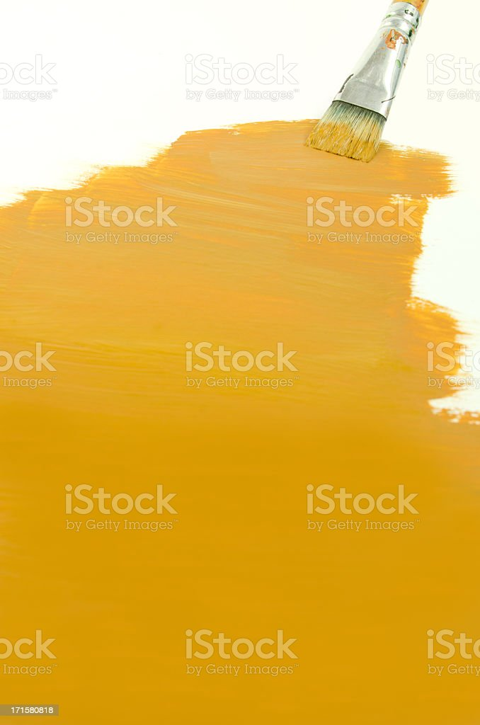 Yellow Paint and Brush Background royalty-free stock photo