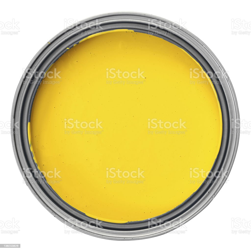 yellow paint can stock photo