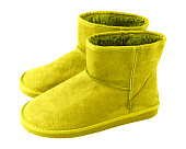 8ed1051f184 Chartreuse Light Green Pair Of Short Winter Ugg Boots Isolated White ...