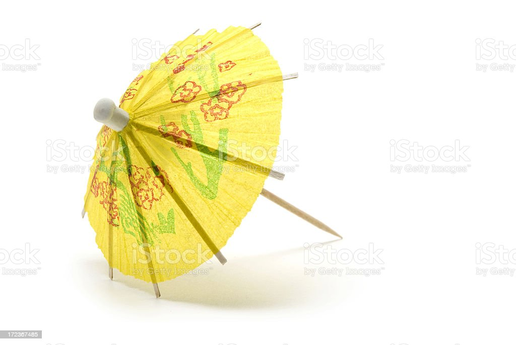 Yellow Paper Cocktail Umbrella royalty-free stock photo
