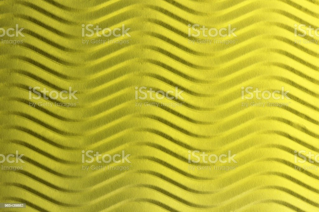 Yellow Paper Horizontal Waves Texture. Embossed Waves on Detailed Paper Background. Corrugated Wavy Cardboard Backdrop. zbiór zdjęć royalty-free