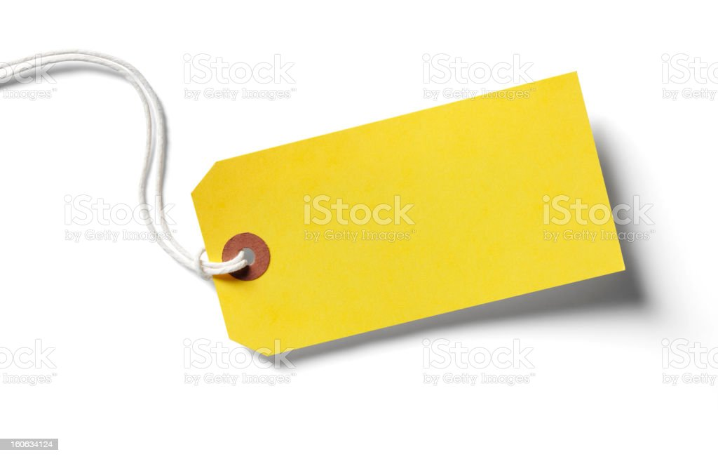 Yellow paper label with shadow on white stock photo
