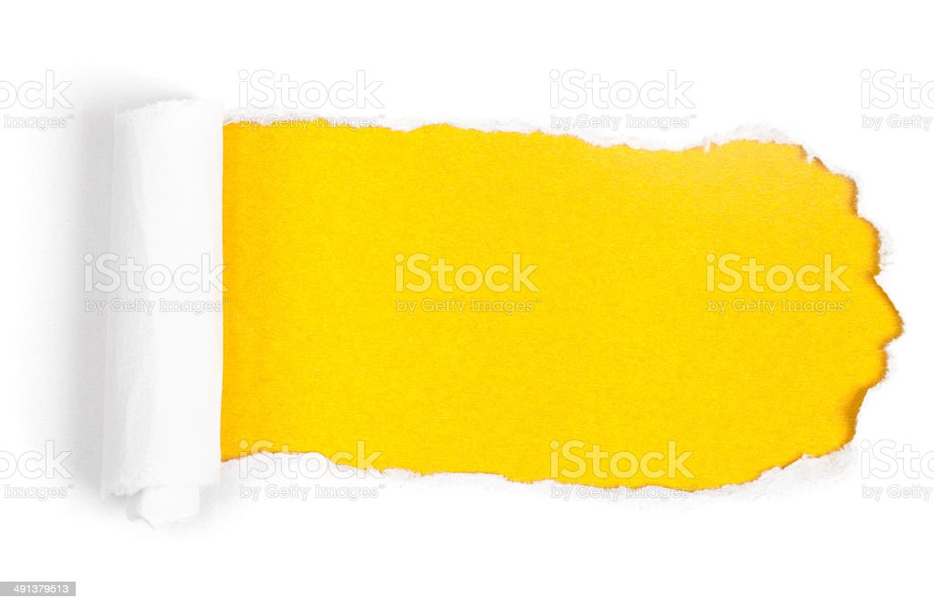Yellow Paper Torn stock photo