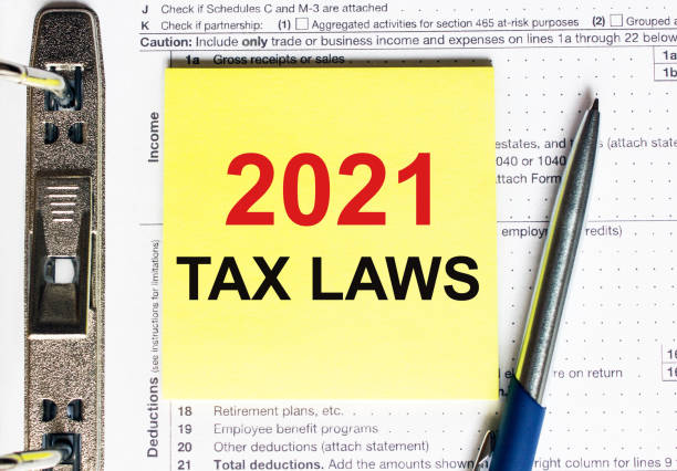 Yellow paper with text 2021 tax laws stock photo