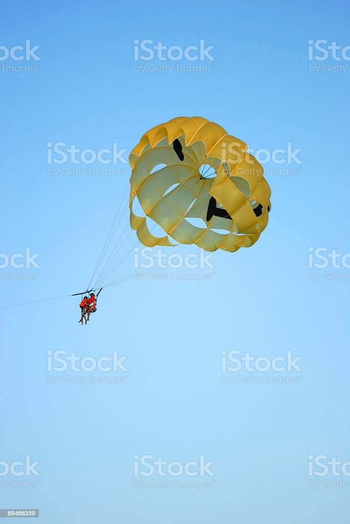 yellow parachute royalty-free stock photo