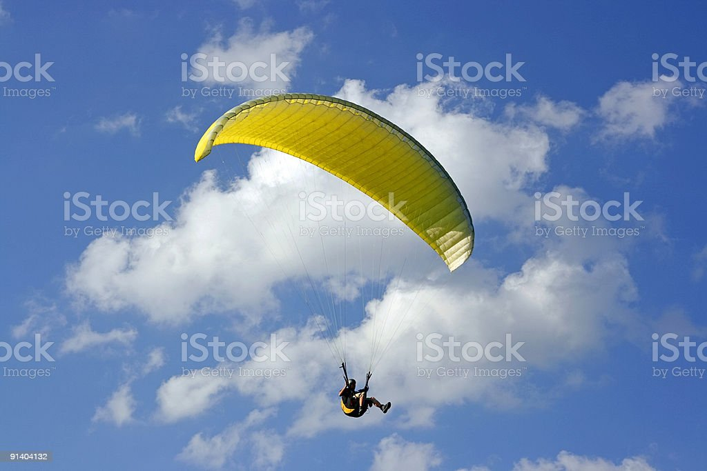 yellow paraglide royalty-free stock photo
