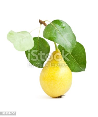 Yellow Pear With Green Leaves Stock Photo & More Pictures of Close-up