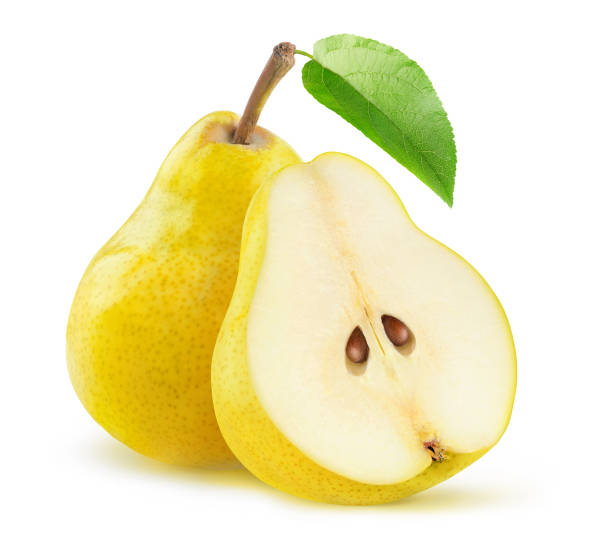 Yellow pears cut in half isolated on white background stock photo