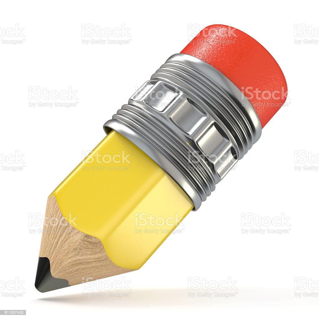 Yellow pencil. Cartoon style. 3D stock photo