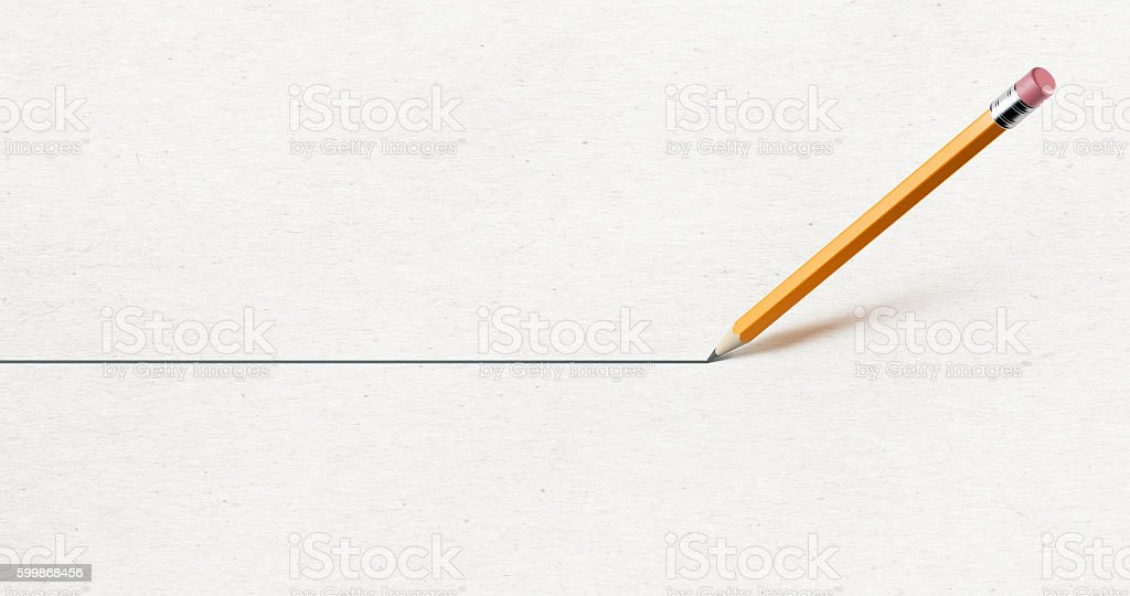 Yellow  Pencil Drawing A Straight Line  on Paper stock photo