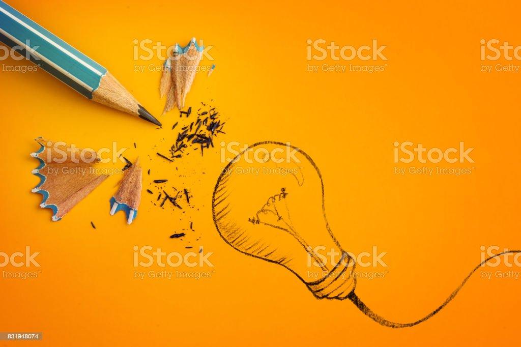 Gelbe Bleistift Mit Hand Gezeichnet Eine Glühbirne Kreative