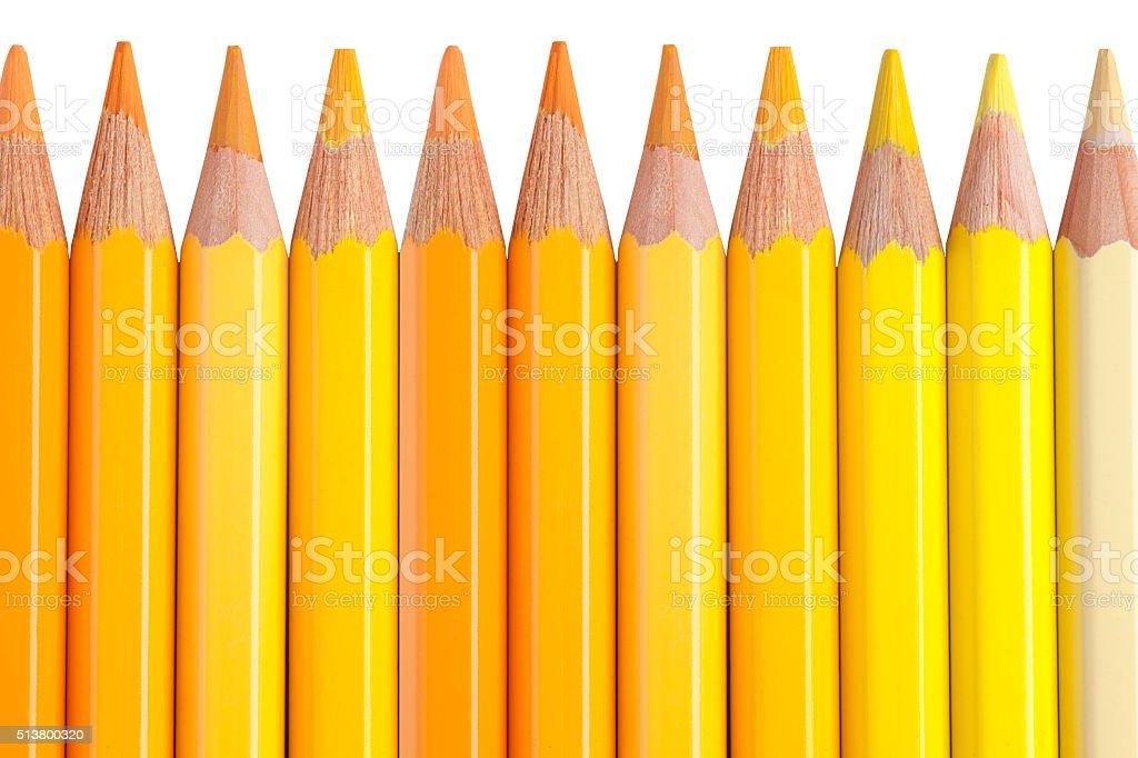 yellow pencils isolated on white background stock photo