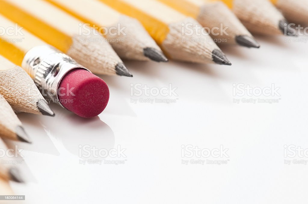 Yellow pencils surrounding empty copy space royalty-free stock photo