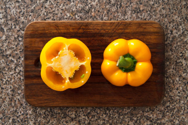 Yellow pepper II Cooking salad with yellow pepper advisable stock pictures, royalty-free photos & images